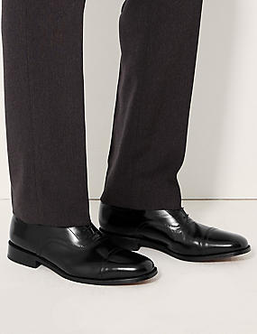 Leather Lace-up Oxford Shoes, BLACK, catlanding