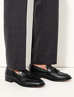 Leather Slip-on Loafers, BLACK, catlanding
