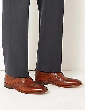 Leather Brogue Shoes, TAN, catlanding
