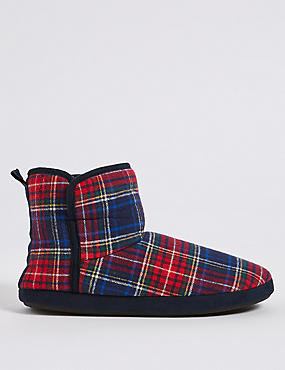Tartan Pull-on Slipper Boots