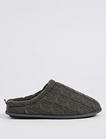 Knitted Slip-on Mule Slippers