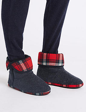 Checked Slipper Boots with Freshfeet™, NAVY MIX, catlanding