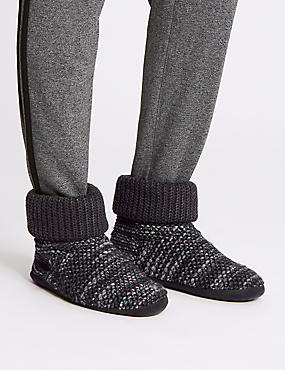 Textured knitted Slipper Boots with Freshfeet™, CHARCOAL, catlanding