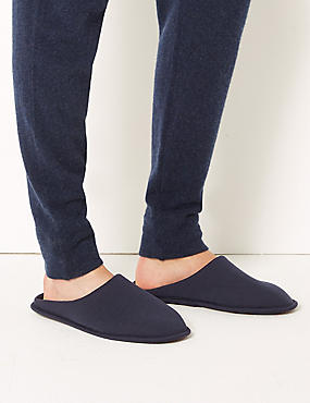 Slip-on Mule Slippers with Freshfeet™, NAVY, catlanding