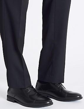 Toe Cap Lace-up Derby Shoes, BLACK, catlanding