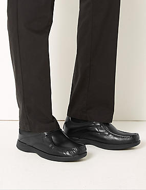 Leather Lace-Up Derby Shoes, BLACK, catlanding
