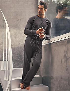 Supima® Slim Fit Pyjama Bottom with Modal, CHARCOAL, catlanding