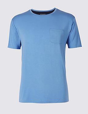 Slim Fit Modal Rich Pyjama Top, SKY BLUE, catlanding