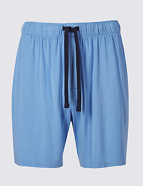 Modal Rich Pyjama Shorts, SKY BLUE, catlanding