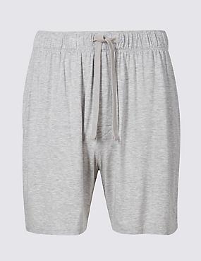 Modal Rich Pyjama Shorts, GREY, catlanding