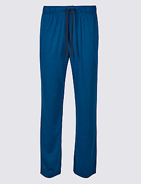 Modal Blend Long Pyjama Bottoms, DARK PETROL, catlanding