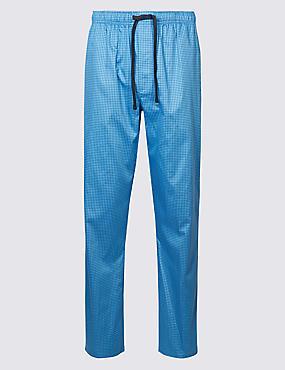 Supima® Cotton Spotted Pyjama Bottoms, BLUE MIX, catlanding