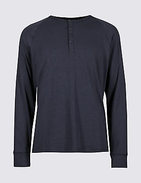Supima® Modal Blend Pyjama Top, DARK INDIGO, catlanding
