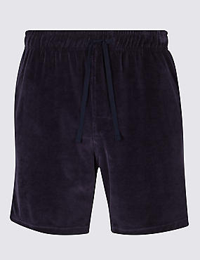 Cotton Rich Slim Fit Velour Shorts