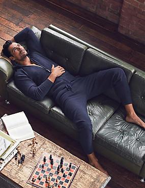 Pure Cashmere Hooded Pyjama Top, NAVY, catlanding