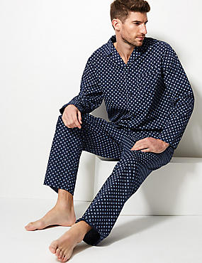 Cotton Blend Printed Pyjama Set, NAVY MIX, catlanding