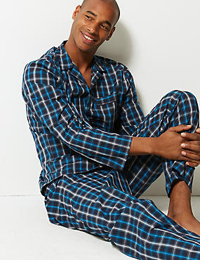 Cotton Blend Checked Pyjama Set, TEAL MIX, catlanding