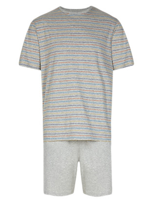 Pure Cotton Striped Pyjama Shorts Set Clothing