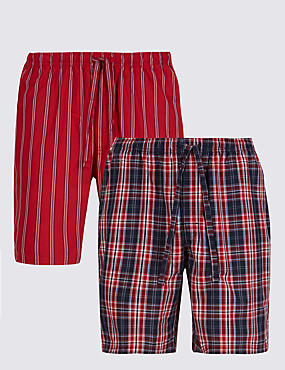 2 Pack Pure Cotton Assorted Pyjama Shorts