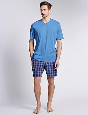 Pure Cotton T-Shirt & Checked Shorts Set