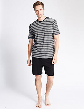 Pure Cotton Striped T-Shirt & Shorts Set