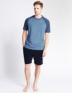 Pure Cotton Stay Soft Raglan Sleeve Marl T-Shirt & Shorts Set
