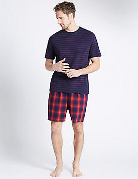Pure Cotton Striped & Checked Short Set