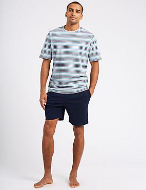 Pure Cotton Striped Pyjama Shorts Set, GREY MIX, catlanding