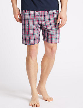 2 Pack Pure Cotton Checked Shorts