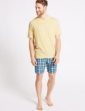 Pure Cotton Checked Pyjama Shorts Set, YELLOW MIX, catlanding