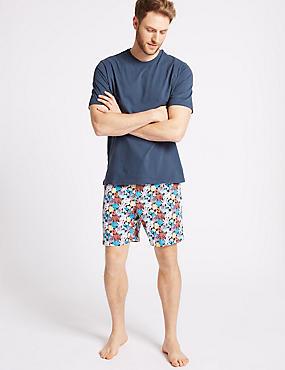 Pure Cotton Printed Pyjama Shorts Set, MULTI, catlanding