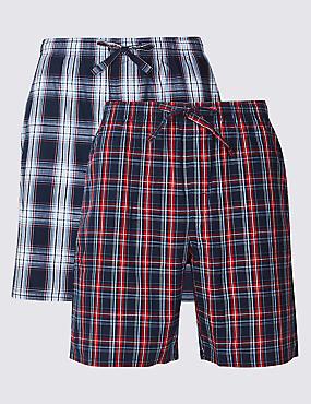 2 Pack Pure Cotton Pyjama Shorts, NAVY MIX, catlanding