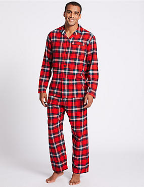 Brushed Cotton Checked Christmas Pyjama Set, RED MIX, catlanding