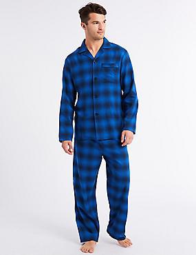 Brushed Cotton Checked Pyjama Set, BLUE MIX, catlanding