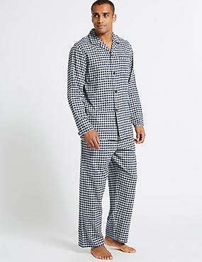 Big & Tall Brushed Cotton Checked Pyjama Set, NAVY/GREY, catlanding