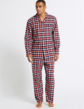 Big & Tall Brushed Cotton Checked Pyjama Set, RED MIX, catlanding