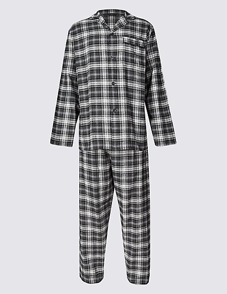 Brushed Cotton Stay Soft Checked Pyjamas
