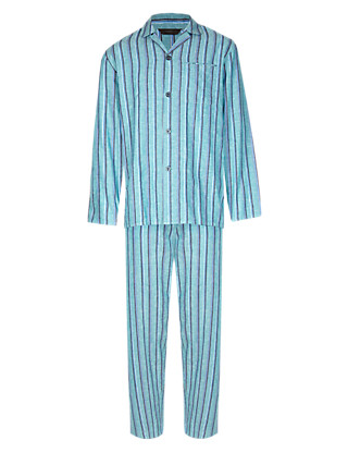 Linen Blend Revere Collar Bold Striped Pyjamas Clothing