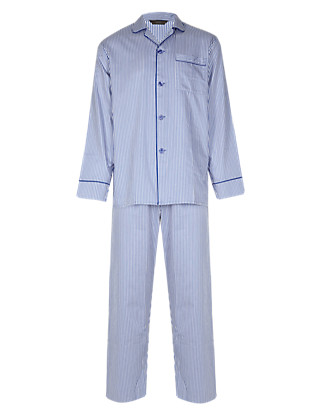 Pure Cotton Revere Collar Striped Pyjamas Clothing