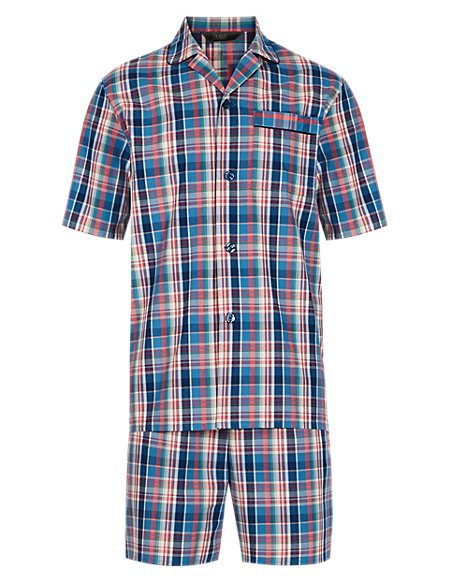 Pure Cotton Bold Checked Pyjama Shorts Set