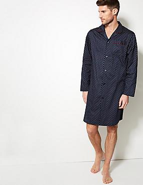Pure Cotton Printed Nightshirt, NAVY MIX, catlanding