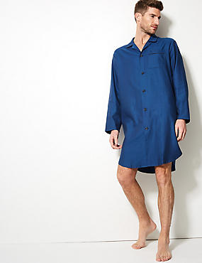 Pure Cotton Herringbone Nightshirt, BLUE, catlanding