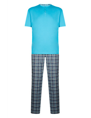 Pure Cotton Gingham Checked Pyjamas Clothing