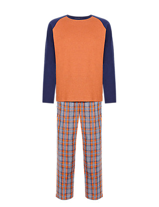 Pure Cotton Checked Long Sleeve T-Shirt & Trousers Set Clothing