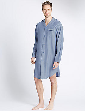 Pure Cotton Textured Herringbone Nightshirt