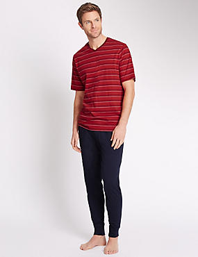 Pure Cotton Nautical Striped T-Shirt & Cuffed Jogger Set