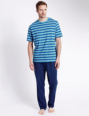Pure Cotton Bright Striped T-Shirt & Trousers Set