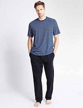 Pure Cotton Tonal Nautical Striped T-Shirt & Trousers Set