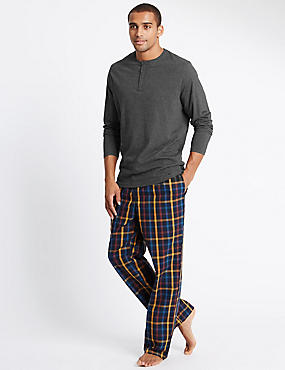 Pure Cotton Checked Pyjamas with StaySoft™