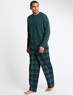 Pure Cotton Green Top Checked Pyjamas